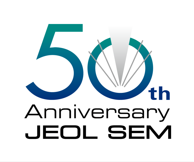 Logo 50 Years JEOL Scanning Electron Microscopes - SEM + TEM